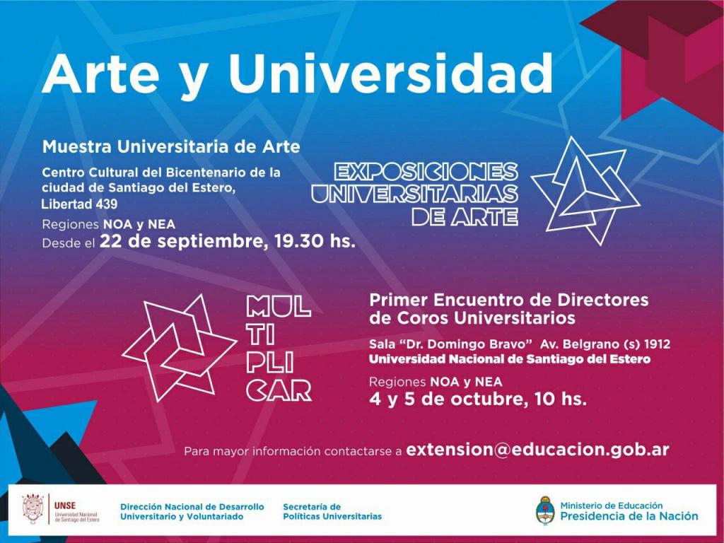 Se realizará la Exposición Universitaria de Arte den NOA y NEA en Santiago