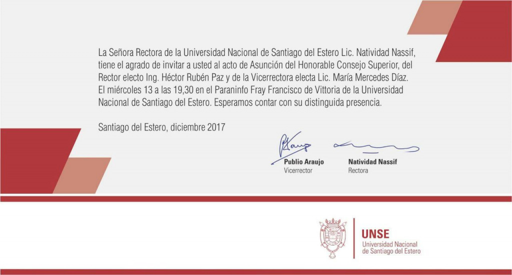 Acto Asunción nuevas autoridades de la UNSE