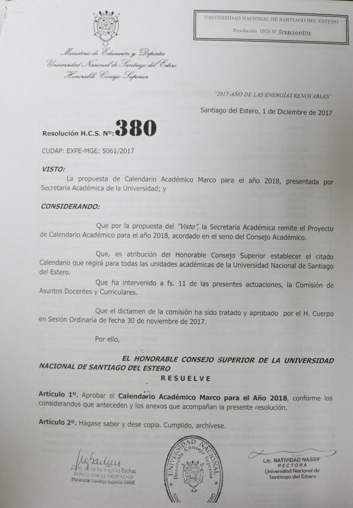 Resolución HCS Nº 380 Calendario Académico Marco 2018