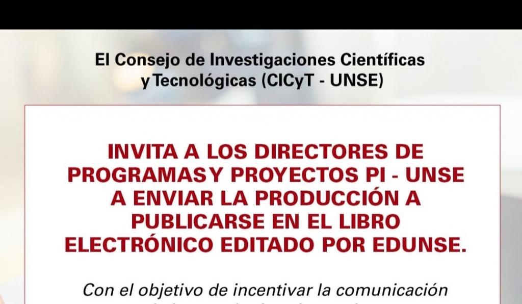 CICyT – UNSE invita a publicar en libro electrónico editado por Edunse