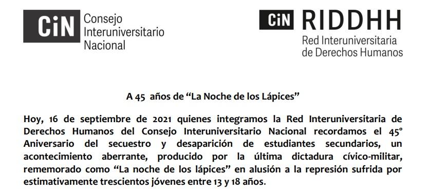 """La RIDDHH-CIN emitió comunicado conmemorativo a 45 años de la """"Noche de los Lápices"""
