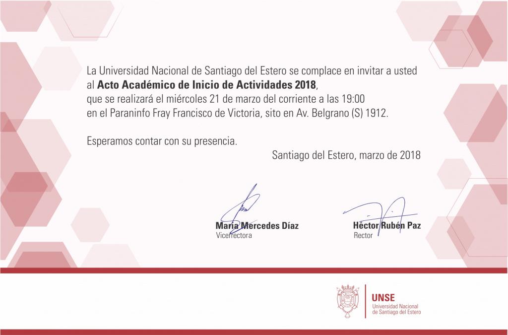 Invitación Acto Académico de Inicio de Actividades 2018