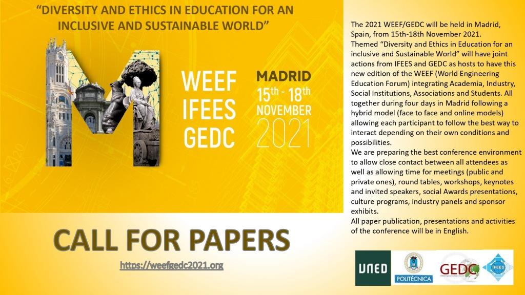 Invitan al Rector de la UNSE a conformar la Comisión de Honor de la Conferencia WEEF / GEDC 2021