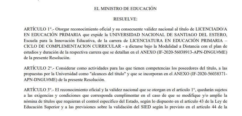 La Licenciatura en Educación Primaria ya cuenta con la validación del Ministerio de Educación de la Nación