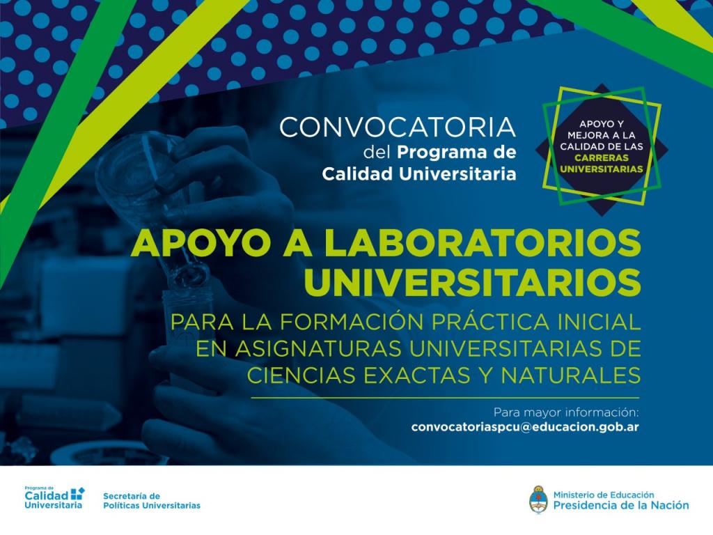 Convocatoria de la Secretaria de Políticas Universitarias: Apoyo a laboratorios universitarios destinados a la formación